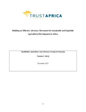 Building an Effective Advocacy Movement for Sustainable and Equitable Agricultural Development in Africa: Smallholder Agriculture and Advocacy Groups In Tanzania